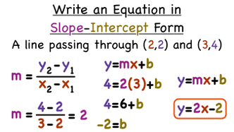 slope intercept form by two points  Section 11 - Graphing Linear Equations